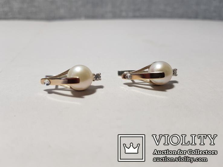 Комплект Серебряные серьги и кольцо с золотыми вставками, фото №4