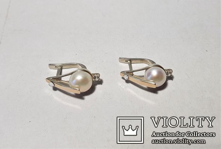 Комплект Серебряные серьги и кольцо с золотыми вставками, фото №5