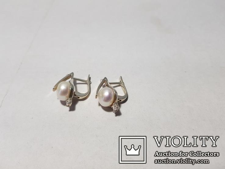 Комплект Серебряные серьги и кольцо с золотыми вставками, фото №6