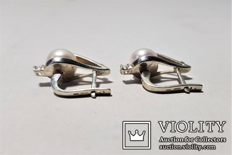 Комплект Серебряные серьги и кольцо с золотыми вставками, фото №7