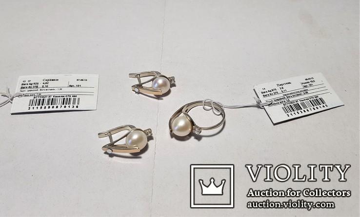 Комплект Серебряные серьги и кольцо с золотыми вставками, фото №12