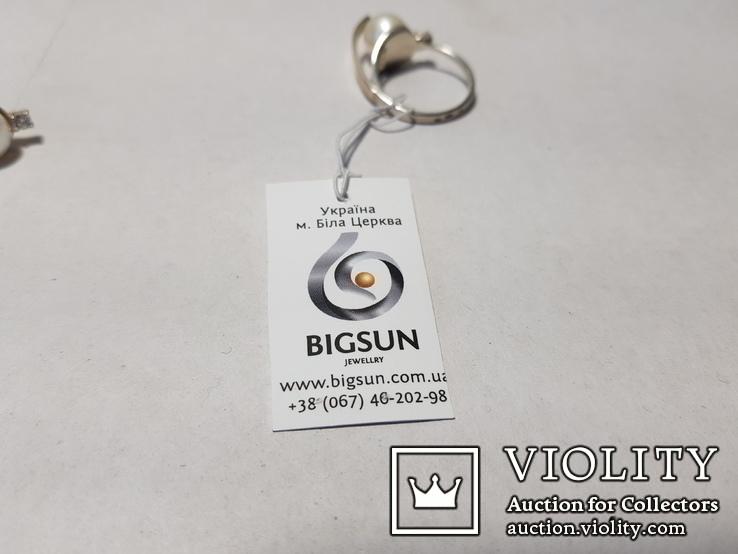 Комплект Серебряные серьги и кольцо с золотыми вставками, фото №13