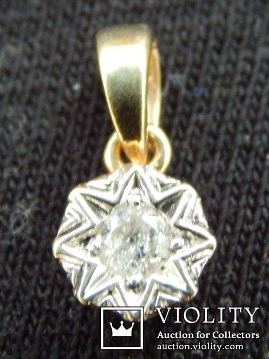 Кулон с бриллиантом 0,1 карат, золото 375 пробы, Италия, фото №2