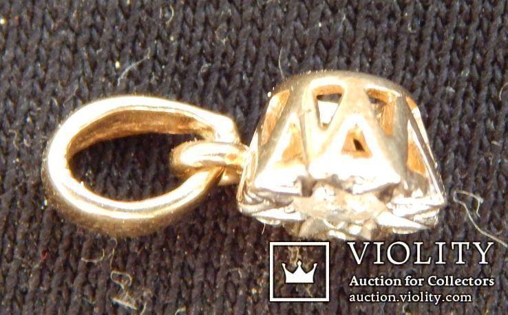 Кулон с бриллиантом 0,1 карат, золото 375 пробы, Италия, фото №7