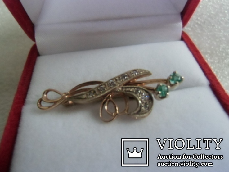 Брошь с натуральными бриллиантами и изумрудами, фото №2
