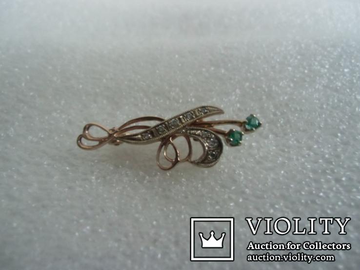 Брошь с натуральными бриллиантами и изумрудами, фото №4