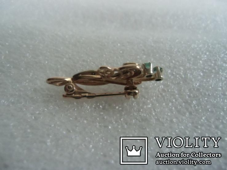 Брошь с натуральными бриллиантами и изумрудами, фото №5