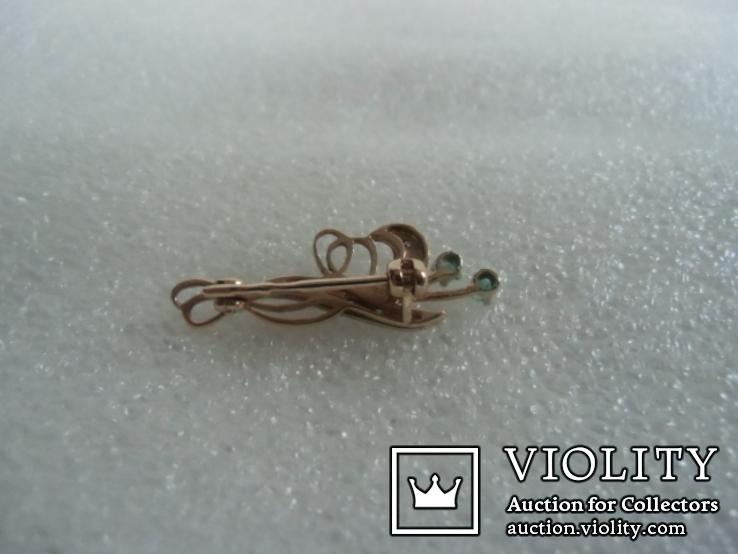 Брошь с натуральными бриллиантами и изумрудами, фото №6