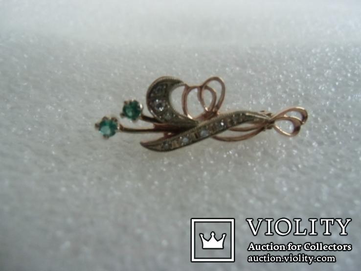 Брошь с натуральными бриллиантами и изумрудами, фото №7