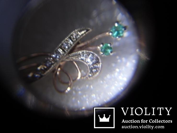 Брошь с натуральными бриллиантами и изумрудами, фото №9