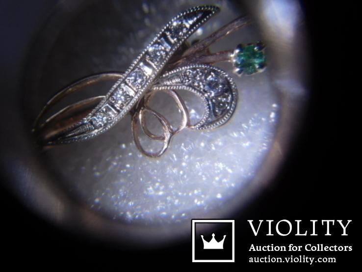 Брошь с натуральными бриллиантами и изумрудами, фото №10