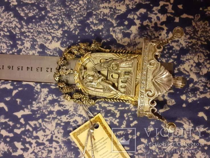 Серебрянная икона-статуэтка с позолотой, фото №4