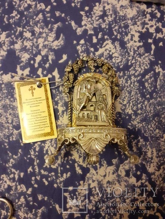 Серебрянная икона-статуэтка с позолотой, фото №2