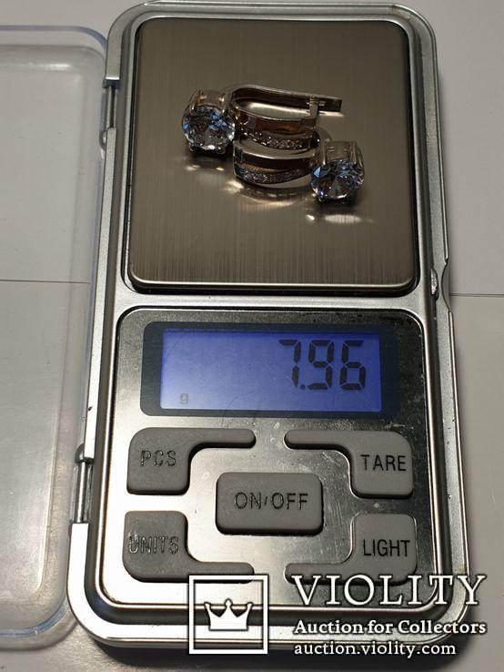 Серебряный набор серьги кольцо браслет ( серебро + золото) 925 и 375 пробы, фото №7