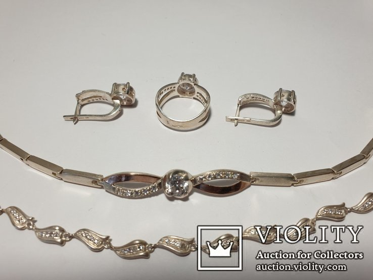 Серебряный набор серьги кольцо браслет ( серебро + золото) 925 и 375 пробы, фото №10