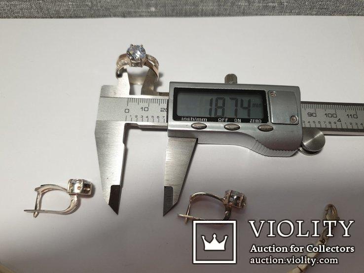 Серебряный набор серьги кольцо браслет ( серебро + золото) 925 и 375 пробы, фото №11