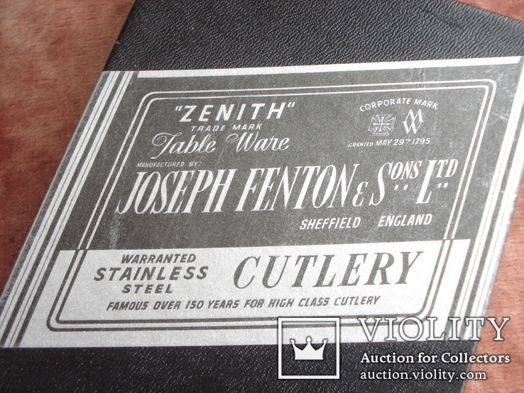 Joseph Fenton & Sons Ltd Sheffield набор столовых ножней., фото №4