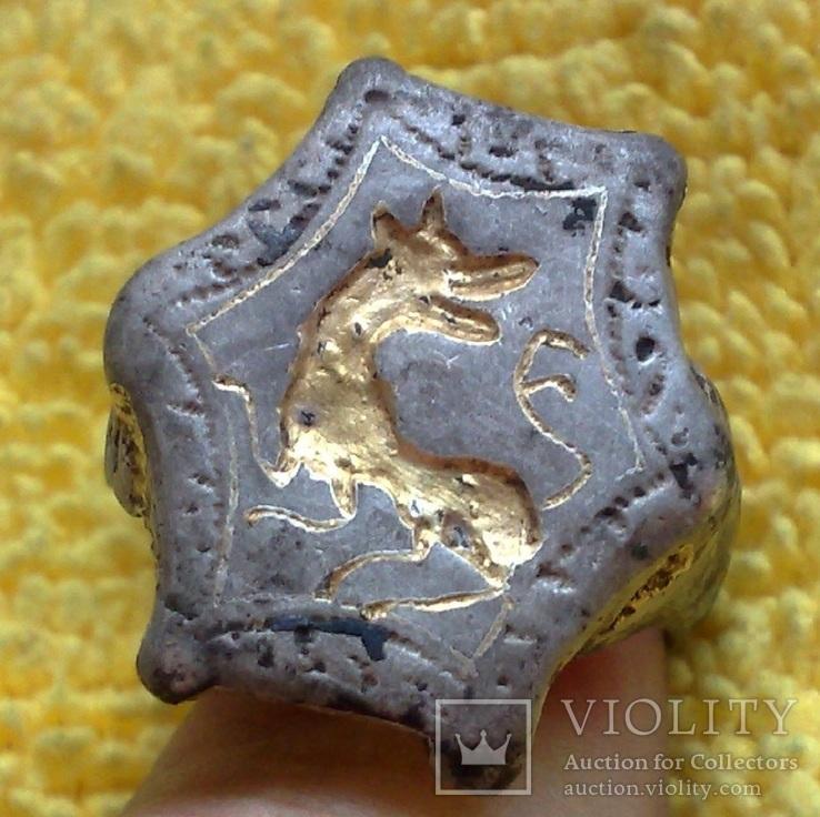 Серебряный перстень КР, чернь, золото. Семаргл или Лютый Зверь.
