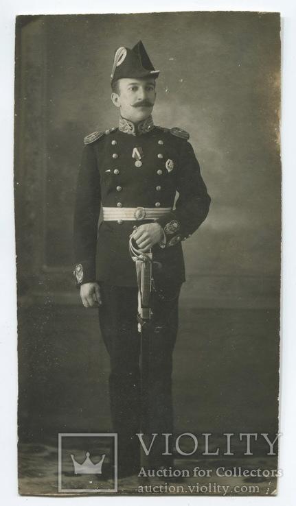 Инженер-механик мичман Григорьев Н. Г. (знак Морского инж. уч.) в парадной форме. 1915 г.