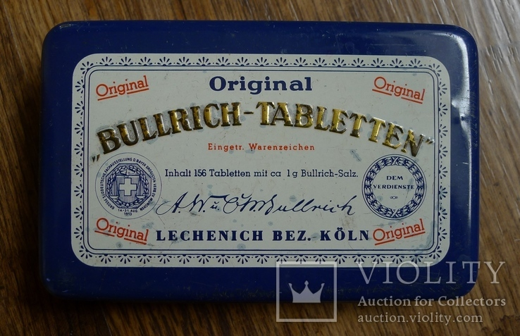 "Жестяная коробка с таблеток ""Bullrich tabletten"", фото №2"