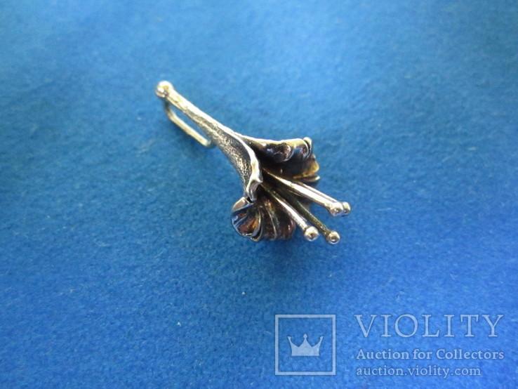 Кулон цветок серебро., фото №2