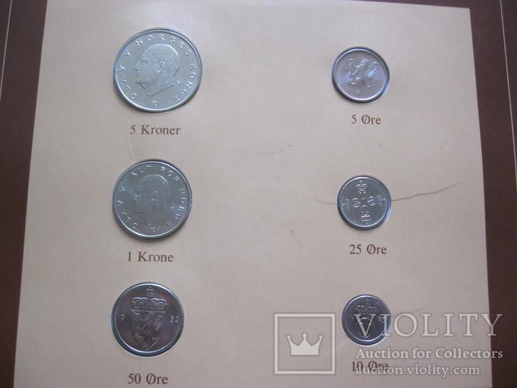 Норвегия набор монет UNC в капсулах на планшете с маркой, запайка, блистер, фото №4