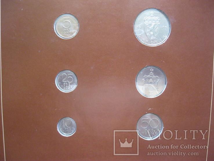 Норвегия набор монет UNC в капсулах на планшете с маркой, запайка, блистер, фото №5