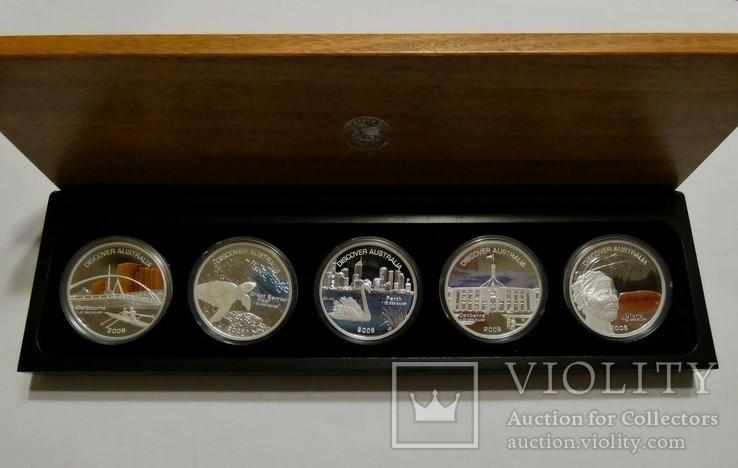 Набор из 5 монет - Открой Австралию - 2006 год, серебро 999, футляр, сертификаты, фото №2