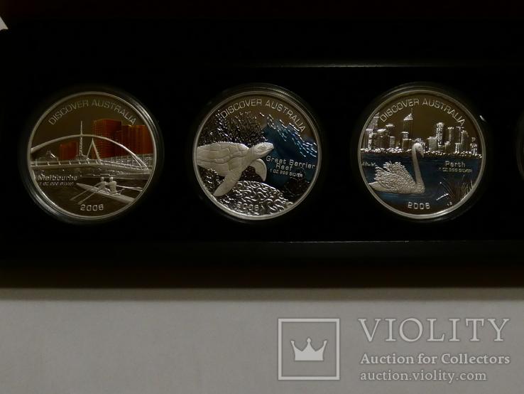 Набор из 5 монет - Открой Австралию - 2006 год, серебро 999, футляр, сертификаты, фото №3