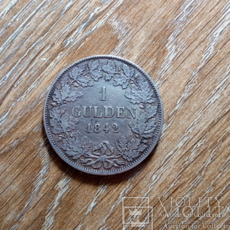 Бавария 1 гульден 1842 г., фото №2