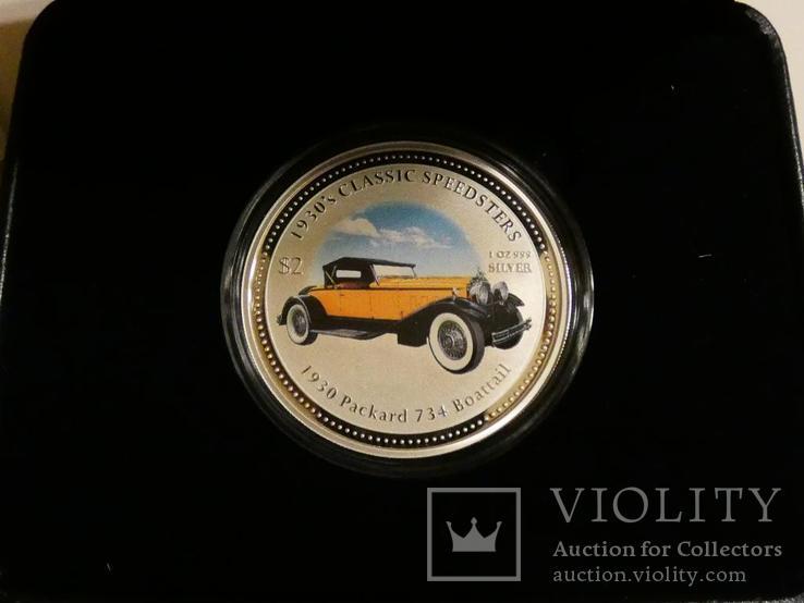 Классические спидстеры 30-х годов - Паккард - серебро, унция, 2 доллара, фото №2