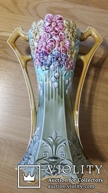 Жардіньєрка Н17,5х38х16 і дві вази Н31х21,5х15, майоліка, фото №6