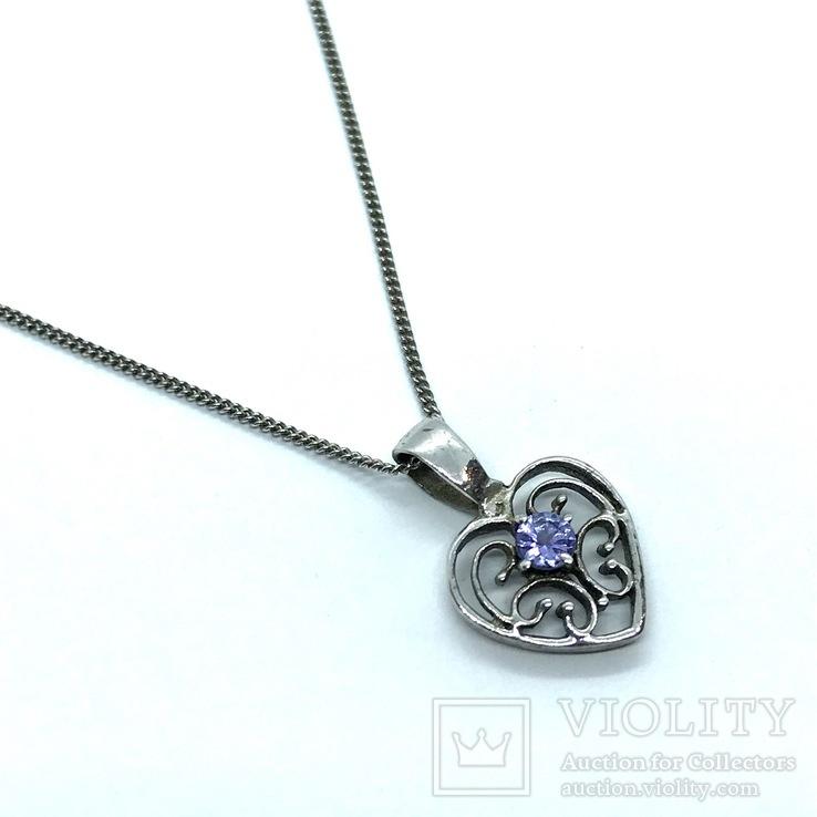Подвес сердце серебро на цепочке, фото №3