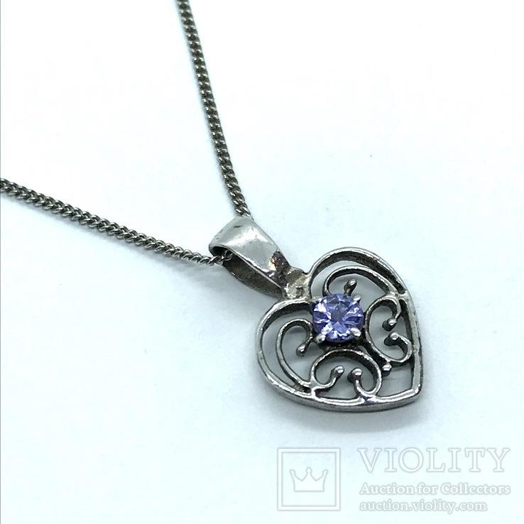 Подвес сердце серебро на цепочке, фото №2