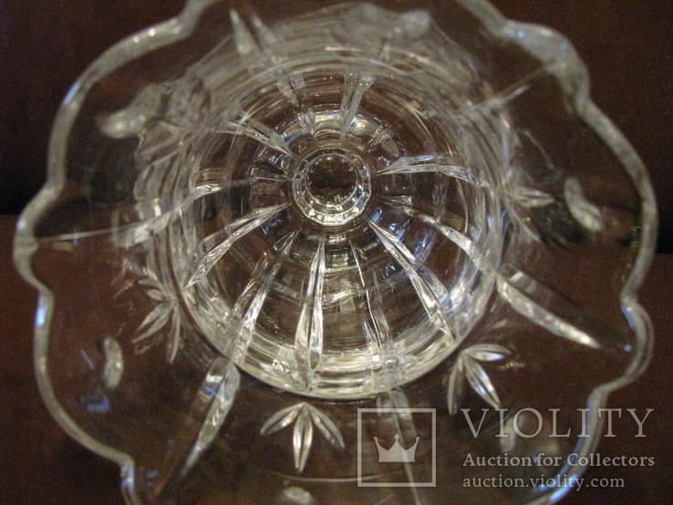 Ваза - кубок - Тюльпан - хрустальное стекло- высота 18 см., фото №10