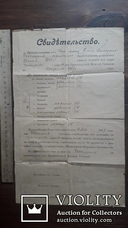 Свидетельство 1917 год Кременчуг Женская Гимназия документ печать сургуч