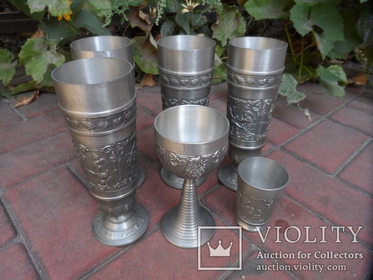 Набор бокалов 5 + рюмка Пищевое олово Европа  ( вес 2,400 ), фото №3