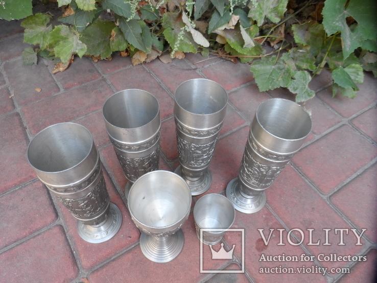 Набор бокалов 5 + рюмка Пищевое олово Европа  ( вес 2,400 ), фото №5