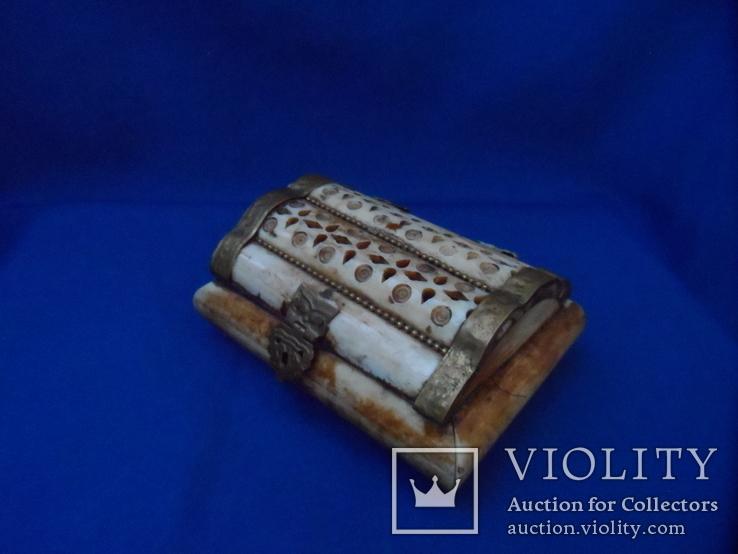 Шкатулка для украшений натуральная кость резьба Европа, фото №4