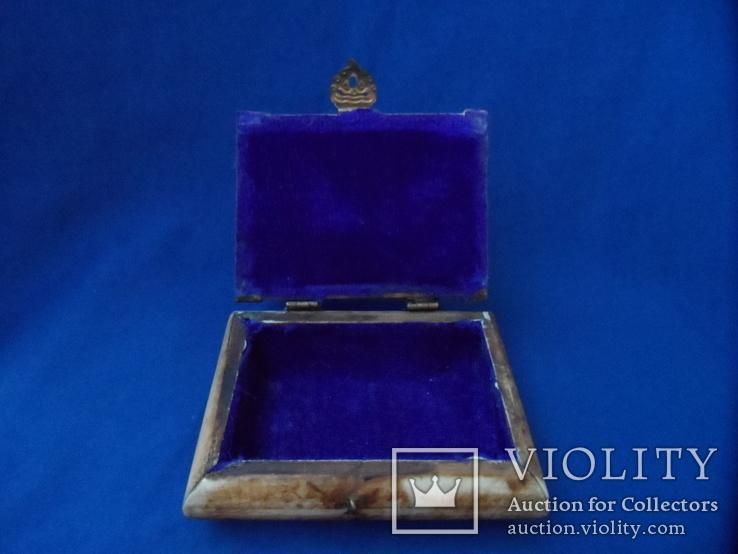 Шкатулка для украшений натуральная кость резьба Европа, фото №10