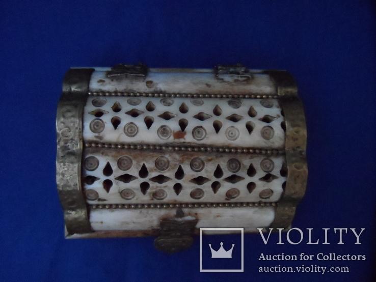 Шкатулка для украшений натуральная кость резьба Европа, фото №12