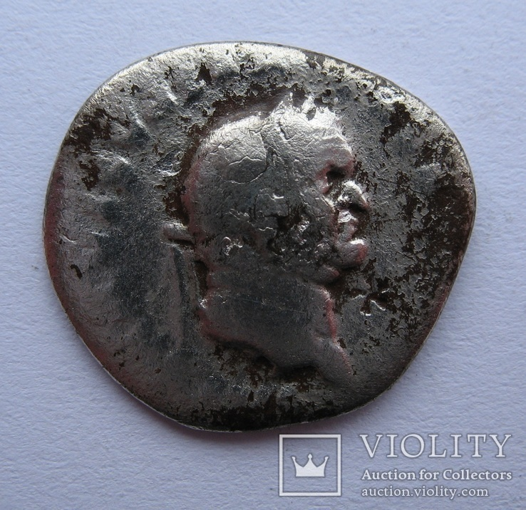 Денарий Веспасиан с  меткой, фото №3