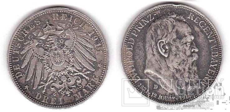 Germany / Bavaria Германия Бавария - 3 Mark 1911 - D VF серебро