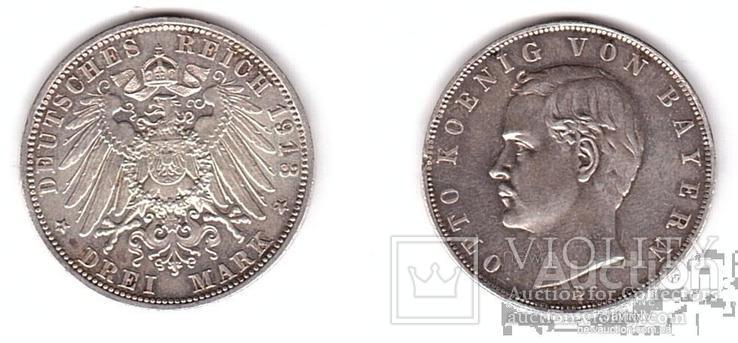 Germany / Bavaria Германия Бавария - 3 Mark 1913 - D VF серебро