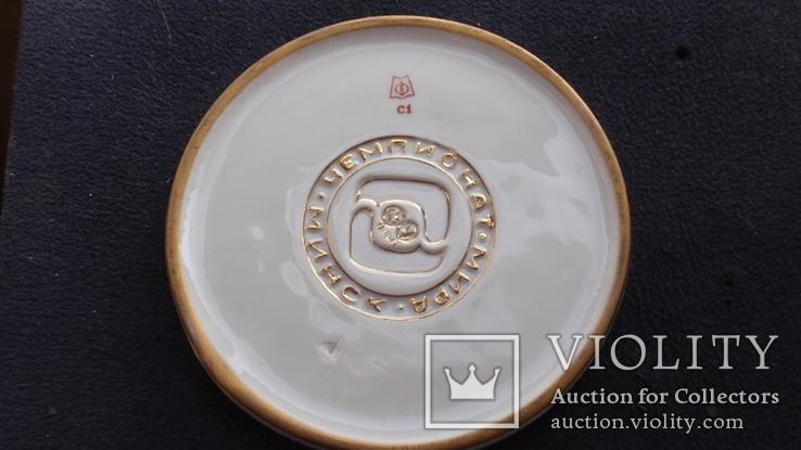 Памятная фарфоровая медаль ЧМ по борьбе Минск 1975 год, фото №10