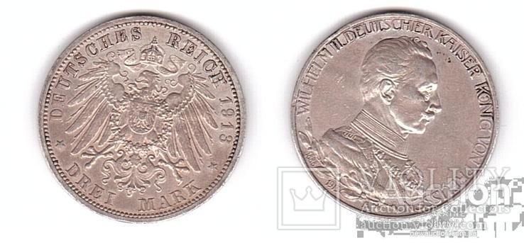 Germany / Prussia Германия Пруссия - 3 Mark 1913 - A VF+ серебро