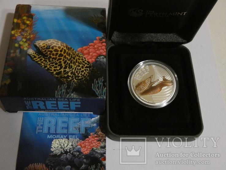 Морская жизнь Австралии - Мурена - серебро, 50 центов, фото №2
