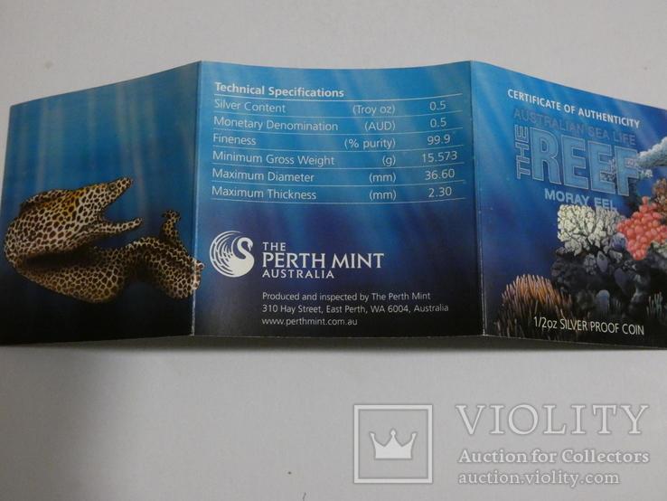 Морская жизнь Австралии - Мурена - серебро, 50 центов, фото №7
