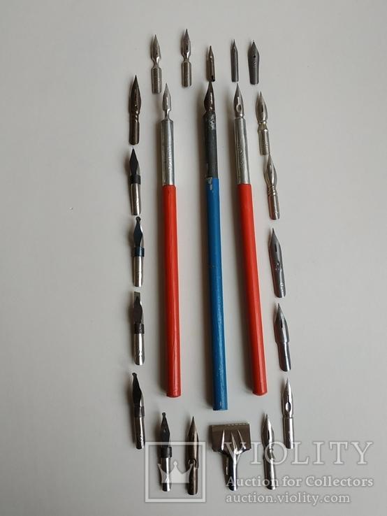 3 перьевые ручки и 20 шт. перьев, фото №3