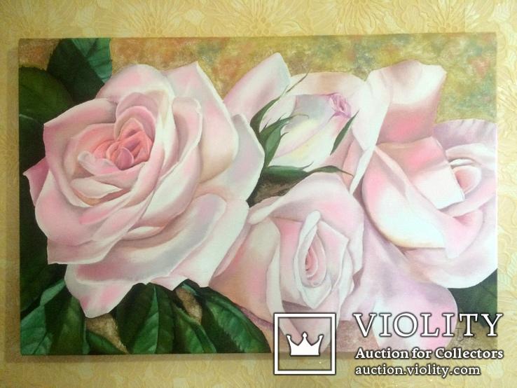 Картина маслом 40х60 Розы, фото №9